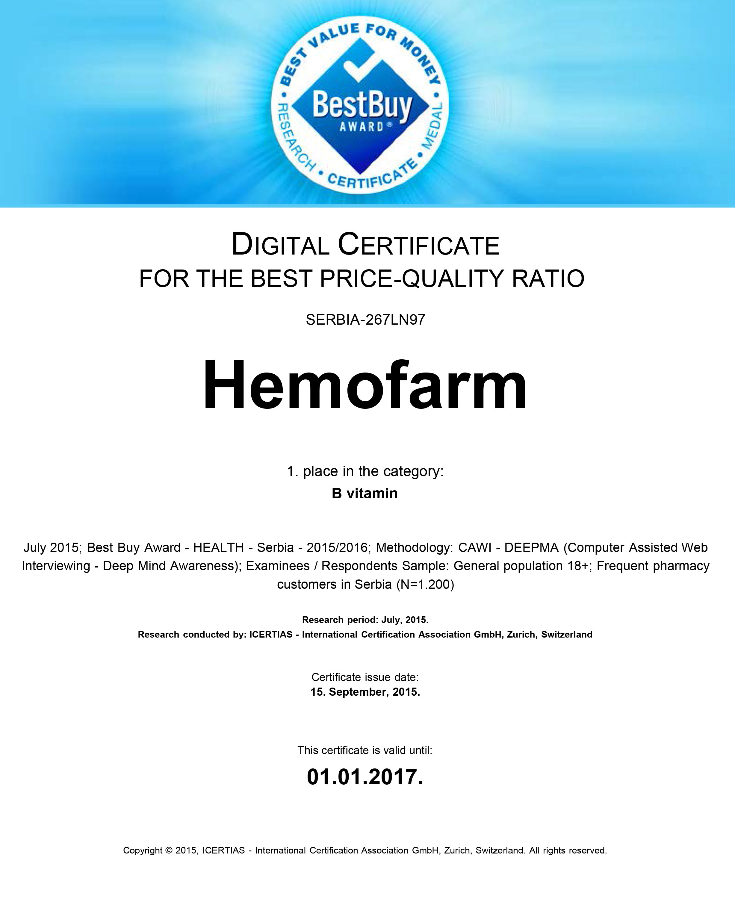 'BEST BUY AWARD' – Consumers Awarded Hemofarm for the Best Price-to-Quality Ratio